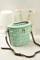 2013 women's handbag vintage rivet zipper bucket bag shoulder bag