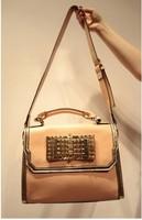 2013 women's handbag pink small bow rivet portable bag messenger bag