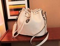 Beige buckle 2013 drawstring bucket bag one shoulder cross-body women's handbag