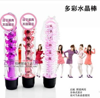 Female masturbation utensils multi-colored crystal stick artificial membranously female av massage vibrator sex products