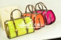 2013 women's handbag neon candy transparent picture package color block rubber jelly bucket handbag
