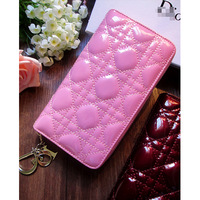 New arrival 2013 d fashion plaid sewing thread japanned leather genuine leather wallet long design female wallet bag