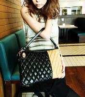 2013 PU color block brief bubble plaid shoulder bag cross-body women's handbag