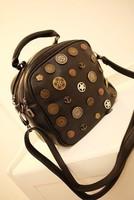 Vintage 2013 all-match badge 3way black small bag messenger bag backpack bag backpack