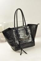 Matt crocodile pattern genuine leather women's handbag illusiveness bag smiley bag fashion women's handbag big bag