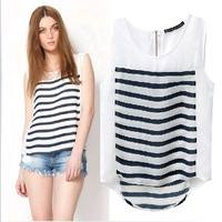 2013 summer new in Europe style za splice color Horizontal stripes back zipper sleeveless chiffon women blouse t shirt vest.2000