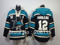 Free shipping San Jose Sharks 12 Patrick Marleau Double Stitched Hockey Jersey Old Time Hockey Hooded Sweatshirt Throwback Hoody