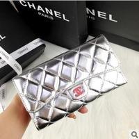 Fashion new arrival 2013 small wallet genuine leather sheepskin plaid long silver design wallet women's