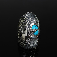 925 pure silver ring thai silver turquoise inlaying ring male ring