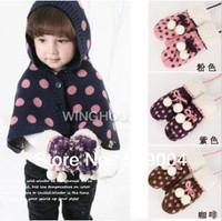 Hot Sales Children's winter warm gloves dots Baby fashion gloves Pink Purple Coffee Mittens M0314 Free Shipping