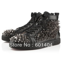 Free shipping 2013 mens womens Studs Spike black Leather Sneaker High-TOP Sneakers Shoes Ankle Boots