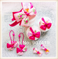 children's hair bows accessories sets for baby girls=1 hairband+1 pair of hair elastic+big&small pairs of hair clips(FTZ003)