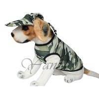Dog clothes summer military Camouflage vest Camouflage dog hat