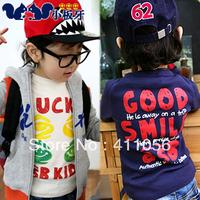 2013 autumn children's clothing smiley letter baby child male female child long-sleeve T-shirt 4213 basic shirt