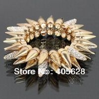 Two row spike crystal bracelet