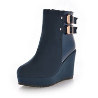 2014 casual wedges round toe boots ultra high heels boots side zipper the trend of the hasp martin boots