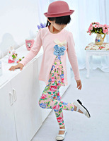 Children's clothing female child autumn 2013 bow top print legging set 0802-d93