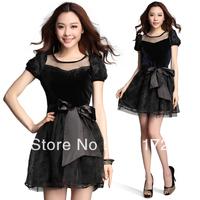 Fashion waist square collar  women dress 5889
