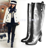 Fashion thick heel high heeled straight long boots cowhide boots female high boots
