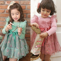 Children's clothing female child autumn and winter 2013 high waist yarn long-sleeve dress princess dress - v21