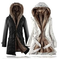 Holiday Sale 2013 Winter Faux fur lining women's winter warm long fur coat jacket clothes wholesale Price,M0011