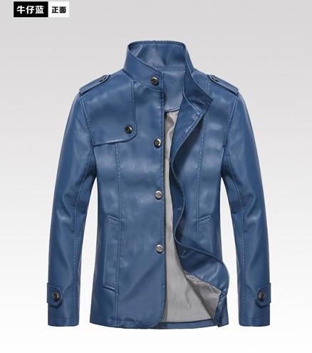 2013 Autumn Winter Fashion Slim Free shipping Men PU leather jacket New Arrive Cowboy Blue Coat Jacket Size:M/L/XL/XXL/XXXL(China (Mainland))
