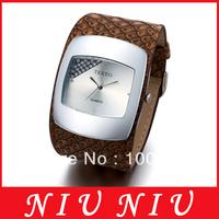 Luxury fashion Lady' women Wrist Watch Rectangle diamond silver Dial Quartz brown Leather Band Free shipping