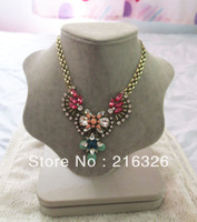 Free shipping *2013 fashion and new Muti color Resin stone and Clear Glass beads *flower choker charms necklace