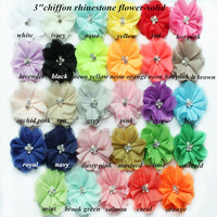 "DHL free shipping 2.75"" chiffon pearl diamond  flower 120 pcs(23colors for selection)"