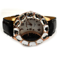 Black Big Dial Crystals Ladies Girls Women's Romantic Analog Dress Quartz Wrist Watch, Free Shipping!