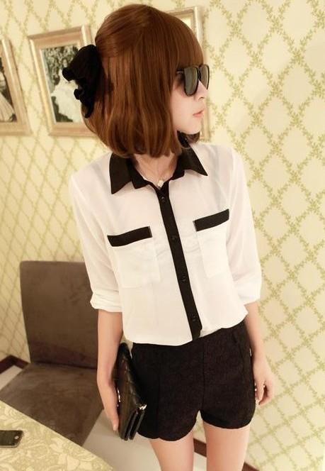 2014 Womens Casual Button Shirt Chiffon Blouse top see through OL