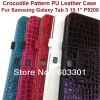 "For samsung galaxy tab 3  10.1"" P5200 Tablet case, Crocodile pattern PU leather cover for galaxy tab 3 10.1"" P5200"