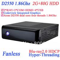 fanless media center pc Hyper-Threading 2 Nics 2 COM HDMI ICH10-R Cedarview-D intel D2550 2G RAM 80G HDD Cederview Graphics