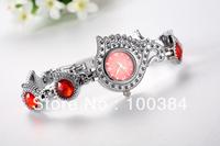 Free Shipping Women Lady's luxury nobler Fashion swan Dial red rhinestone Bracelet Watch Time Quartz