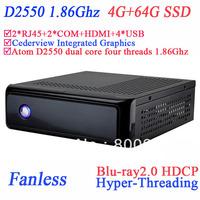 pc fanless windows or linux with Cederview blu-ray2.0 HDCP Hyper-Threading 2 Nics 2 COM HDMI ICH10-R intel D2550 4G RAM 64G SSD