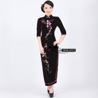 Vintage handmade beading quality velvet fashion cheongsam quinquagenarian design long evening dress formal dress