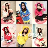 Fall winter new cute bear eard hoodie jacket for woman solid color casual zipper cardigan women's hoodies H04