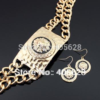 Hammered Metal Lion Head Necklace Set