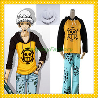 Free Shipping Custom Made One Piece Anime Cosplay Law Party Costume With Hat,1.5kg/pc