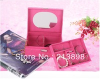 Wooden flannelette jewelry box for women Cosmetic Cases make-up box Many color wholesale Free shipping 999-A8
