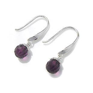 S925 women's pure silver jewelry earrings purple crystal circle drop earring baiyin ol earrings(China (Mainland))