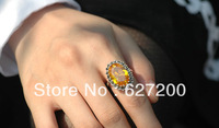 925 Pure Silver Ring Male Women Thai silver pinky ring Yellow Crystal royal vintage Jewelry