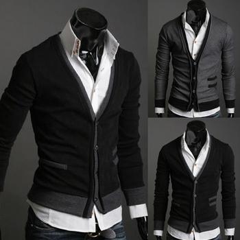 Pocket zipper wool cashmere sweater male outerwear cardigan Fashion Men Knitwear Cardigan Slim Casual Mock Pockets Sweater Coat