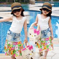 summer cotton prints denim skirt
