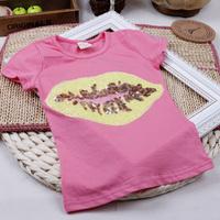 summer sequin pattern 100% female child cotton short-sleeve T-shirt tp