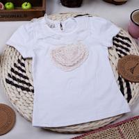 Female child summer lace beading bordered o-neck short-sleeve T-shirt cotton heart