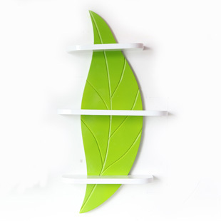 2013AUG #0006 home decoration MDF green storage show exhibition leaf style wall shelf bookcase