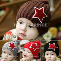 Free shipping Boys five-pointed star applique knitted hat baby winter thermal child pocket hat