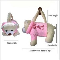 Pink bear handbag Animal Design Baby kids Boy Girl Plush Toys Soft Handbag Zipper Bag Pocket Gift