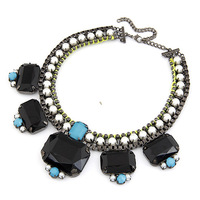 New Hot Sale Rock Feeling Fluorescence Color Gem Pearl Choker Necklace For Women Fashion Jewelry